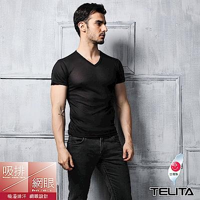 男內衣 T恤  吸溼涼爽短袖V領內衣  黑色 TELITA
