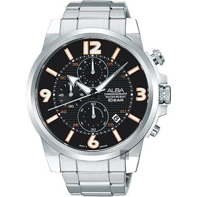 ALBA ACTIVE 限定型男三眼計時腕錶(AM3365X1)-黑/45mm