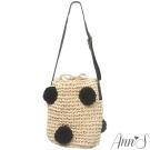 Ann'S人氣黑毛球編織小草編包