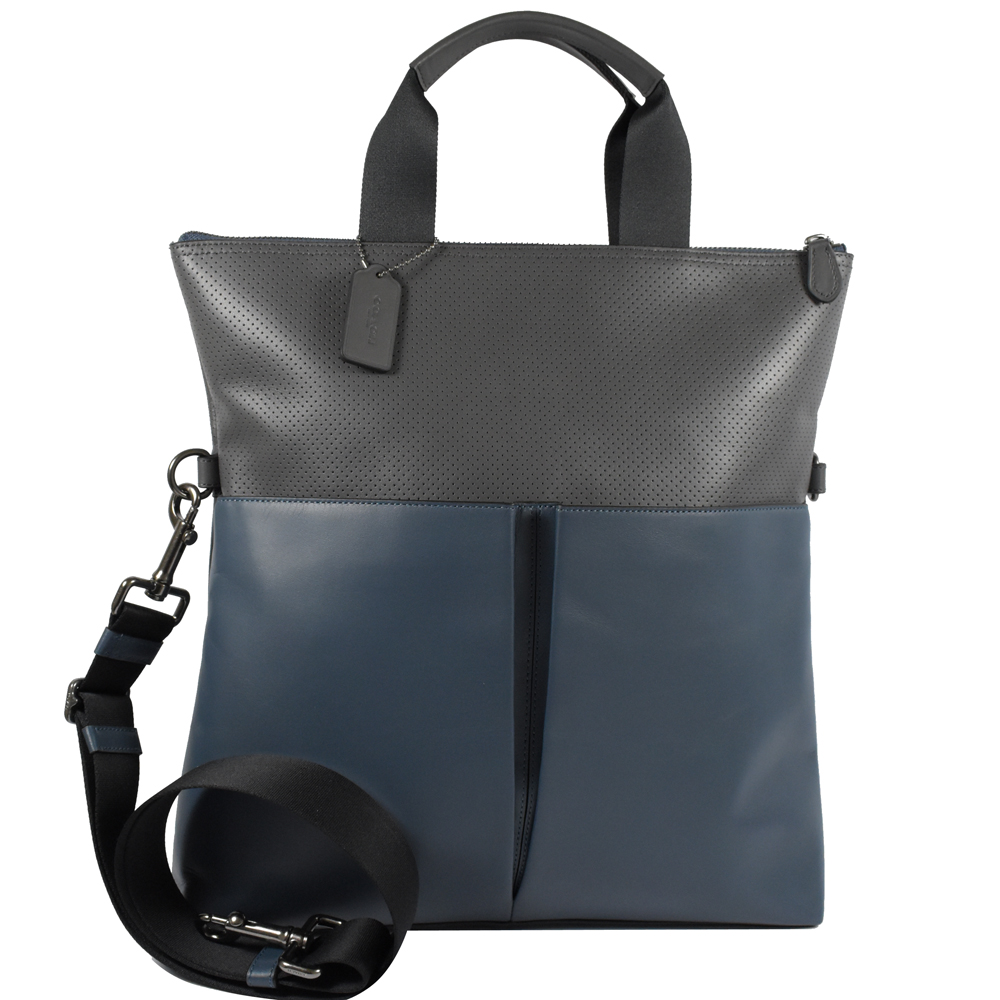 484a14c2a19c COACH雙口袋紳士皮革拼接兩用手提包(灰藍) @COACH 敗家
