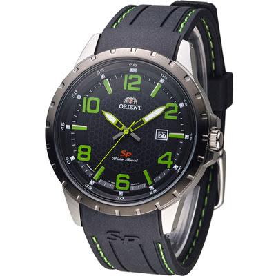 ORIENT-東方錶-明日之星時尚腕錶-黑x綠色