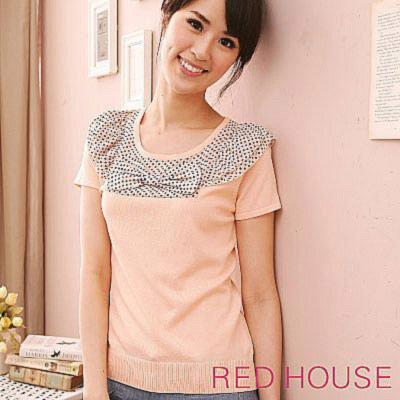 RED-HOUSE-蕾赫斯-圓點配布素雅針織衫