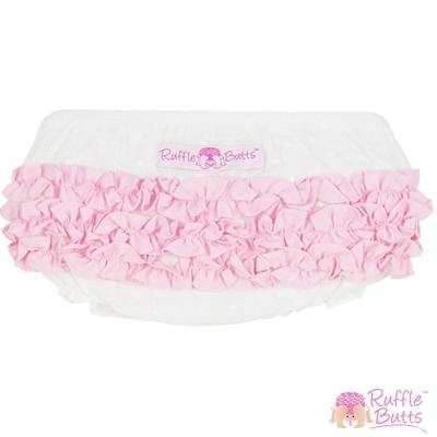 RuffleButts 小女童白底粉色荷葉邊包屁褲