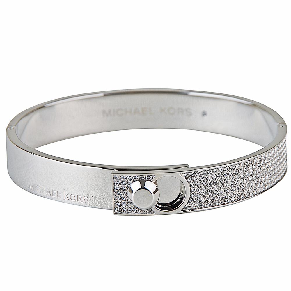 Michael Kors 氣質奢華碎鑽名媛扣式手環(銀色)