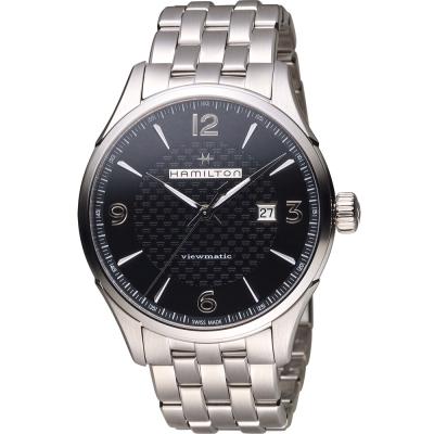 Hamilton 漢米爾頓 Jazzmaster  紳士自動上鍊機械腕錶-黑/44mm
