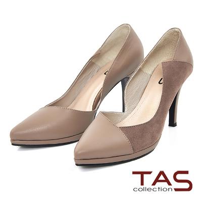 TAS-特殊鏤空剪裁拼接羊皮高跟鞋-名品棕