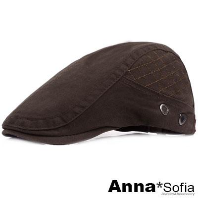 AnnaSofia 率性側車線格 純棉鴨舌帽小偷帽(深咖系)