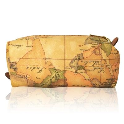 Alviero Martini 義大利地圖包 拉鍊筆袋化妝包-地圖黃(小)