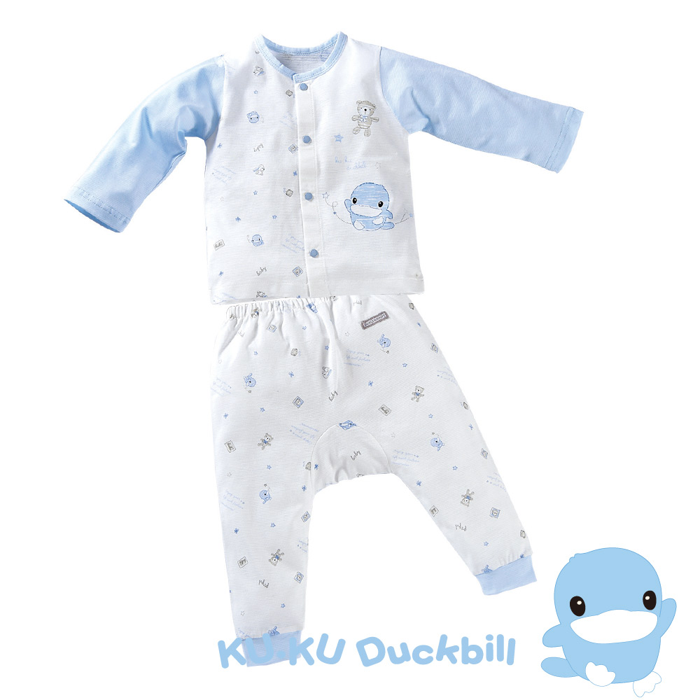 KU.KU酷咕鴨-夏樂印花長袖套裝(春夏薄款) 藍(80/90/100CM)