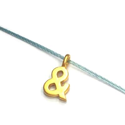 Dogeared & 符號項鍊 金墜灰藍色棉繩 ampersand 成就人生里程碑