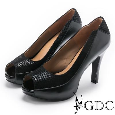 GDC-氣勢異材拼接造型露趾魚口高跟鞋-黑色