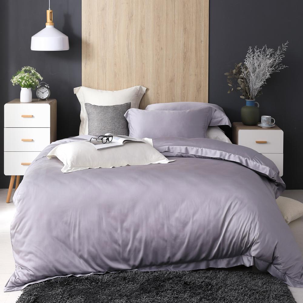 Cozy inn 淡紫灰 雙人四件組 100%萊賽爾天絲兩用被套床包組