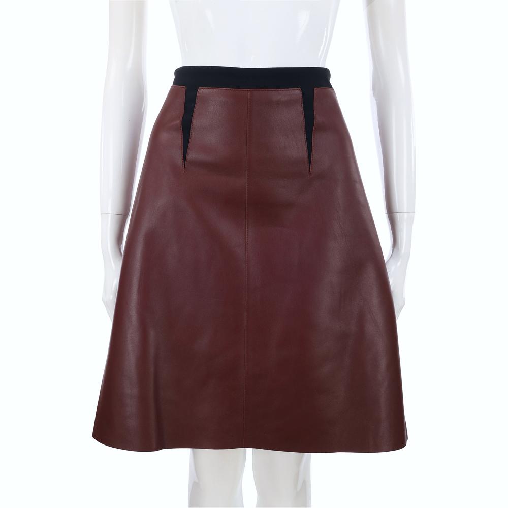 Max Mara-SPORTMAX 咖啡/黑色雙材質拼接及膝裙