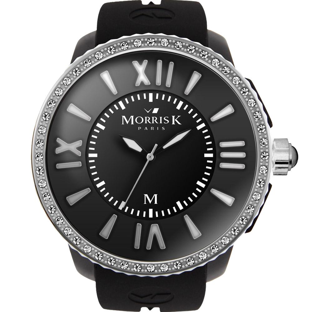 MORRIS K 獨一無二晶鑽潮流腕錶-黑x銀框/50mm