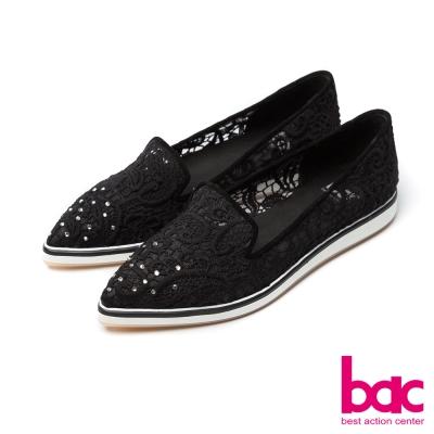 bac甜美履行-尖頭鏤空蕾絲貼鑽樂福懶人休閒鞋-黑