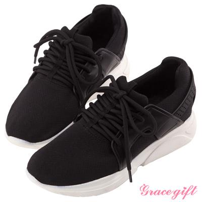 Grace gift X Wei唐葳-織紋時尚綁帶運動休閒鞋 黑
