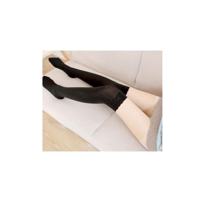 狐狸姬  花朵紋造形拼接黑彈力絲襪褲襪子
