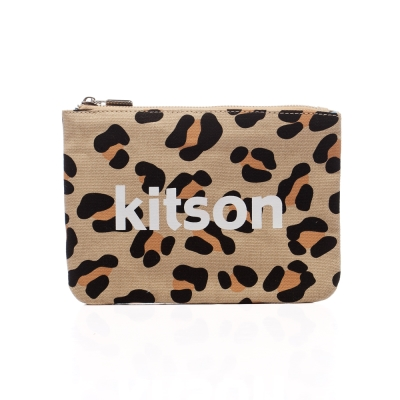 kitson 豹紋帆布隨身包 / 化妝包-BEIGE