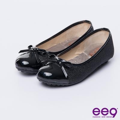 ee9 MIT經典手工~都會優雅異材質併接蝴蝶結豆豆娃娃鞋*黑色