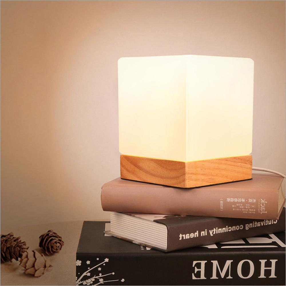 北歐簡約 實木方糖燈 LED夜燈 桌燈