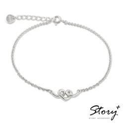 STORY故事銀飾-纏綿的心 純銀手鍊(白K金)