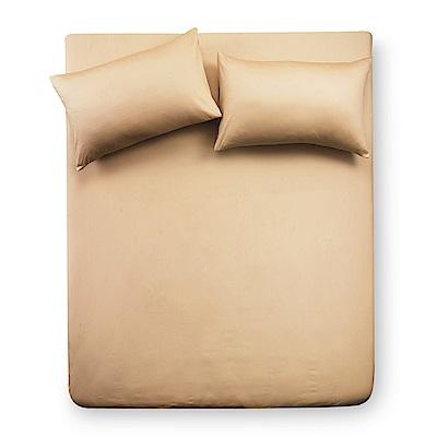 義大利Famttini-典藏原色 雙人三件式精梳棉床包組-金黃