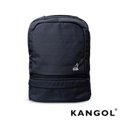 KANGOL 韓國石匠系列-墨色經典款防潑水男女休閒機能後背包-混織黑