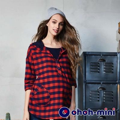 ohoh-mini 孕婦裝 經典格紋連帽孕哺上衣-2色