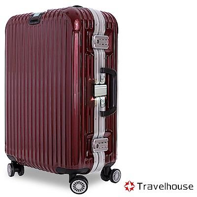 Travelhouse 爵世風華 29吋PC鋁框鏡面行李箱(酒紅)