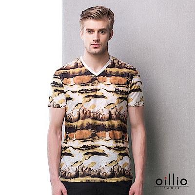 歐洲貴族oillio V領T恤 油畫質感 涼感布料 卡其色