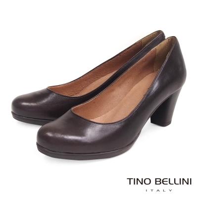Tino-Bellini-西班牙全真皮簡約典雅OL跟鞋-深咖