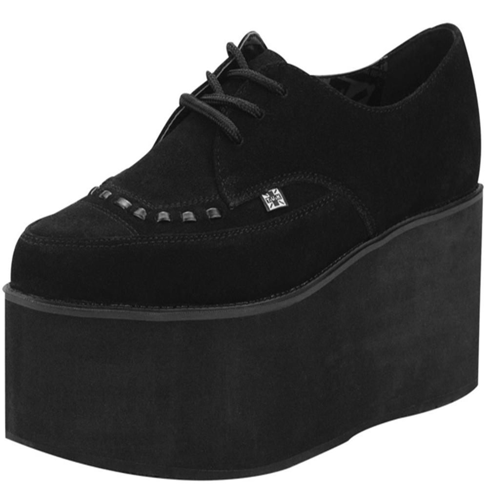 TUK麂皮尖頭厚底龐克鞋-黑