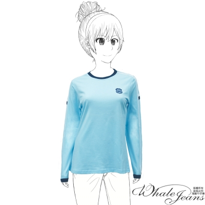 WHALE JEANS 美式運動風格配色俐落流線圓領T恤_淺藍