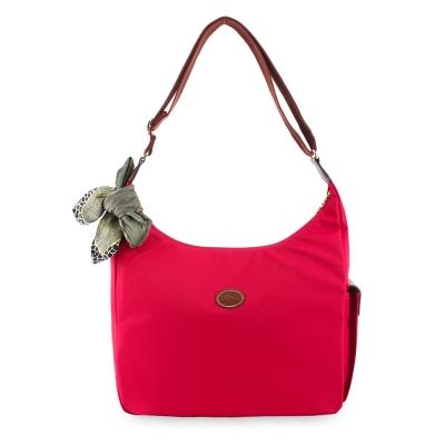 Longchamp 豔彩繽紛大斜背包-玫瑰紅(加贈帕巾)