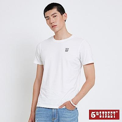 5th STREET 基本LOGO短袖T恤-中性-白色