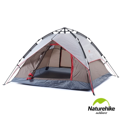 Naturehike 雙層雙門速開型自動帳篷 3-4人 贈地席 灰棕-急