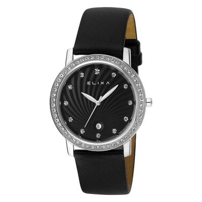 ELIXA Finesse系列銀框 黑色晶鑽刻度錶面/黑色皮革錶帶38.5mm