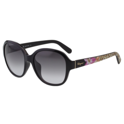 Salvatore Ferragamo 動物花卉 太陽眼鏡-黑色