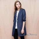 OUWEY歐薇 雙層薄棉織條長版外套(藍)