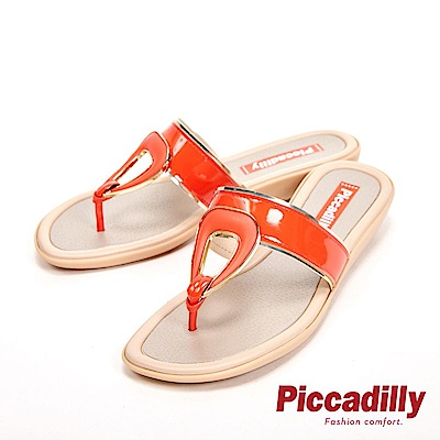Piccadilly 輕量舒適平底夾腳拖鞋 女鞋-橘紅(另有湖水綠、黑)