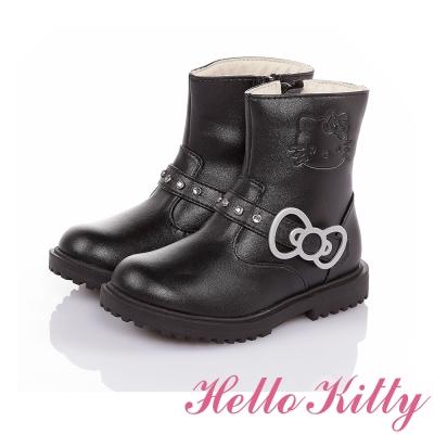 HelloKitty 傳統手工高級超纖皮革童靴 黑色