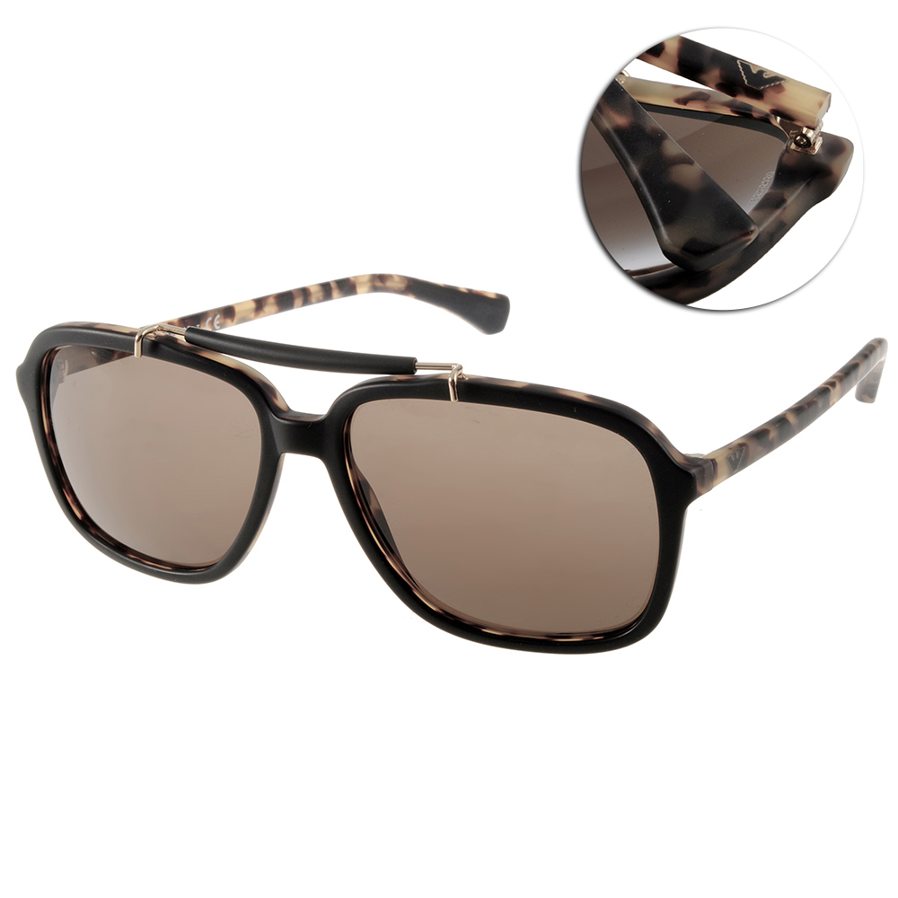 EMPORIO ARMANI太陽眼鏡 時尚飛官/黑-黃琥珀#EA4036 5269