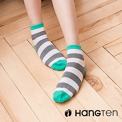 HANG TEN 寬條紋二分之一女襪2雙入組_灰綠(HT-022-49)