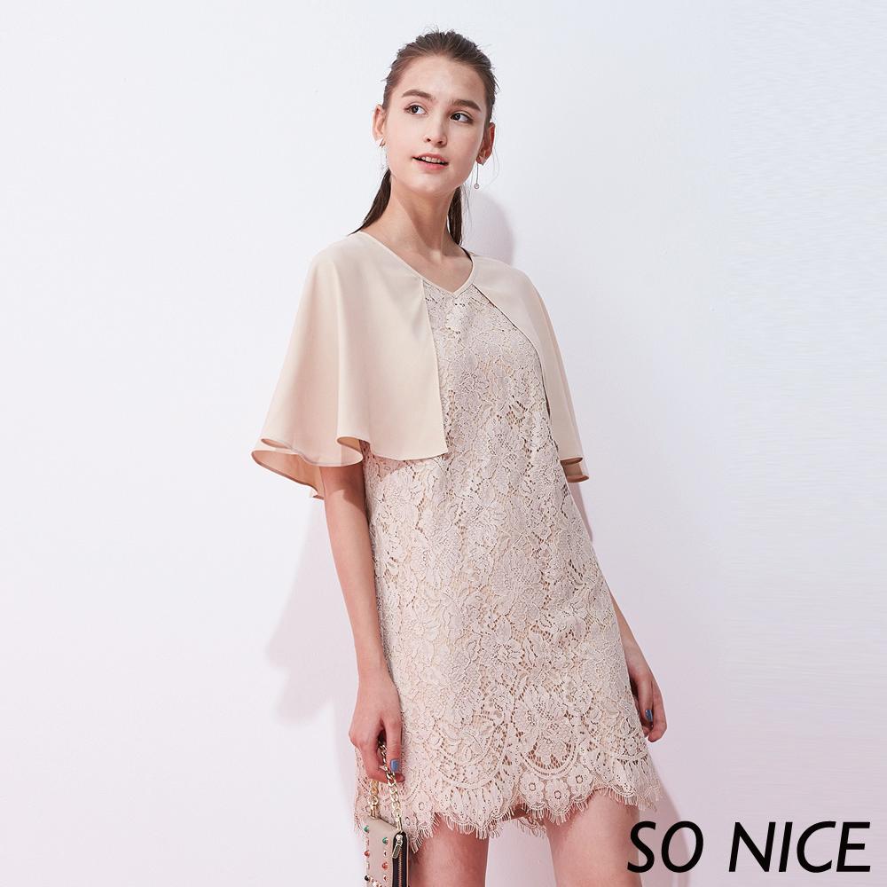 SO NICE優雅蕾絲斗篷洋裝