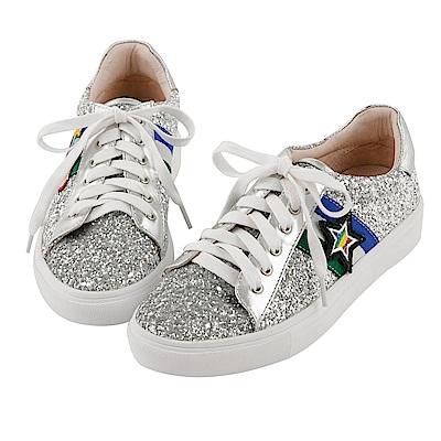 BESO 趣味街頭 閃耀亮片不對襯星球綁帶蝴蝶結休閒鞋~銀