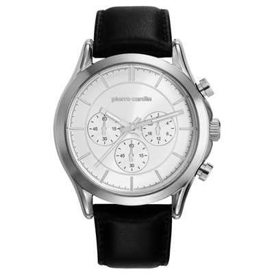 pierre cardin皮爾卡登   純粹精神計時三眼腕錶-銀框白/43mm