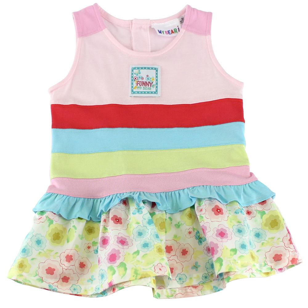 愛的世界 MYBEAR 花樣女孩純棉清涼背心洋裝/1~3歲