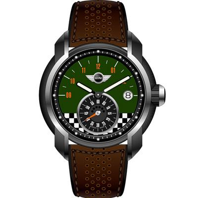 MINI Swiss Watches  賽車旗幟腕錶-綠x咖啡/42mm
