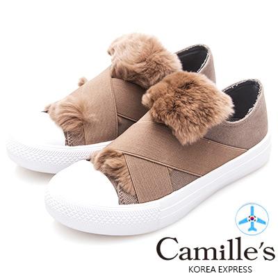 Camille's 韓國空運-交叉鬆緊兔毛帆布懶人休閒鞋-可可