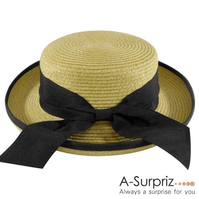 A-Surpriz-時尚蝴蝶結捲邊遮陽帽-米黃
